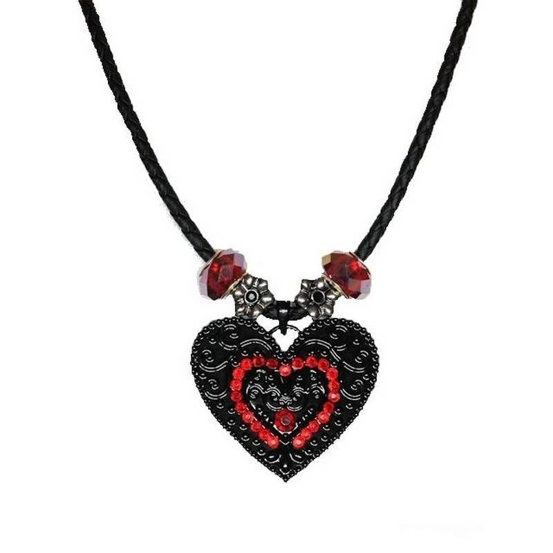 Necklace Beaded Black Heart Magical Sorceress