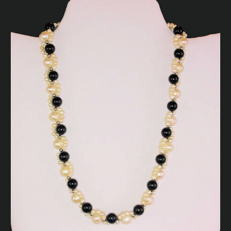 Necklace Beaded Genuine Pearl and Black Onyx Gemstones