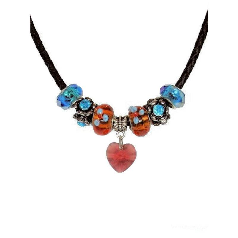 Necklace Beaded Blue Rhapsody with Crystal Heart Charm