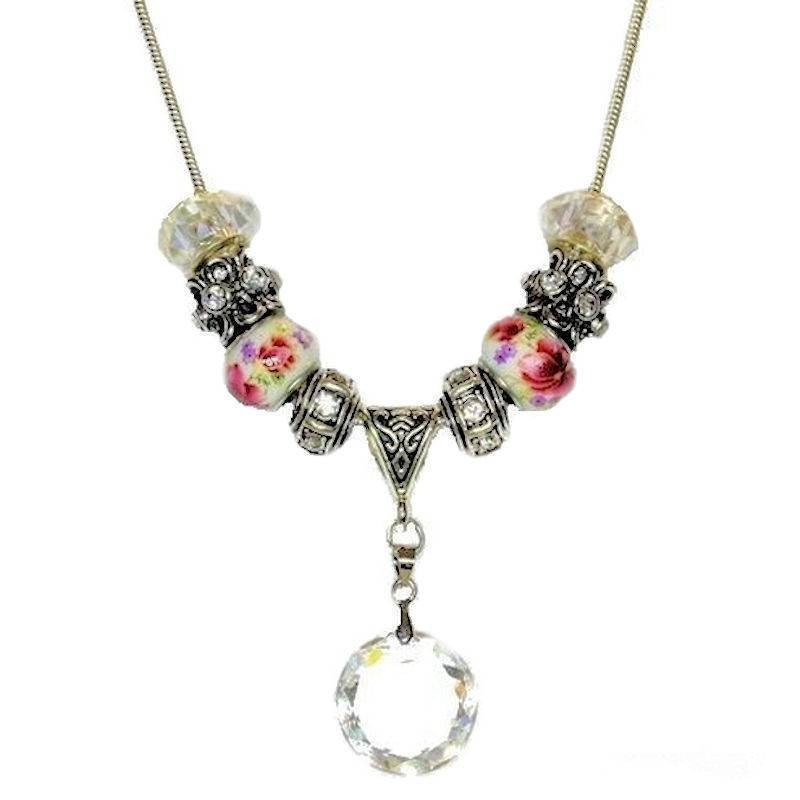 Necklace Enchanted Fairy Princess with Glass Floral Beads