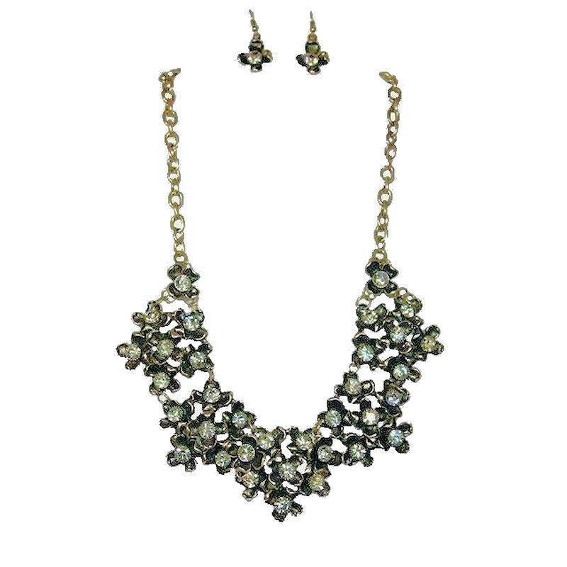 Jewelry Set Crystal Flower Explosion Necklace and Earrings