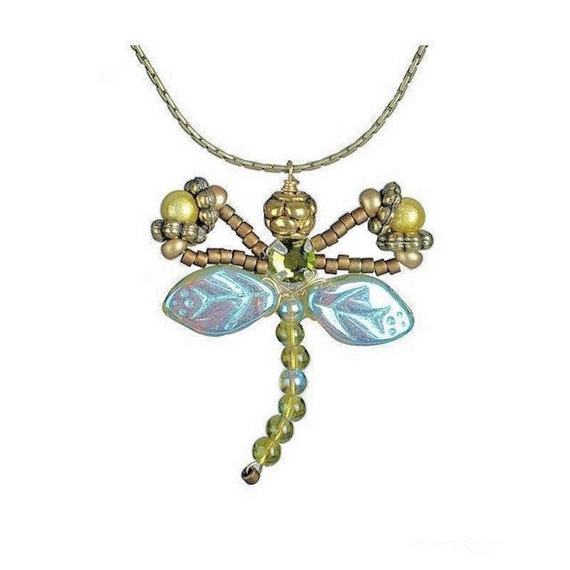 Necklace Handmade Artisan Jewelry Olivine Dragonfly Fairy