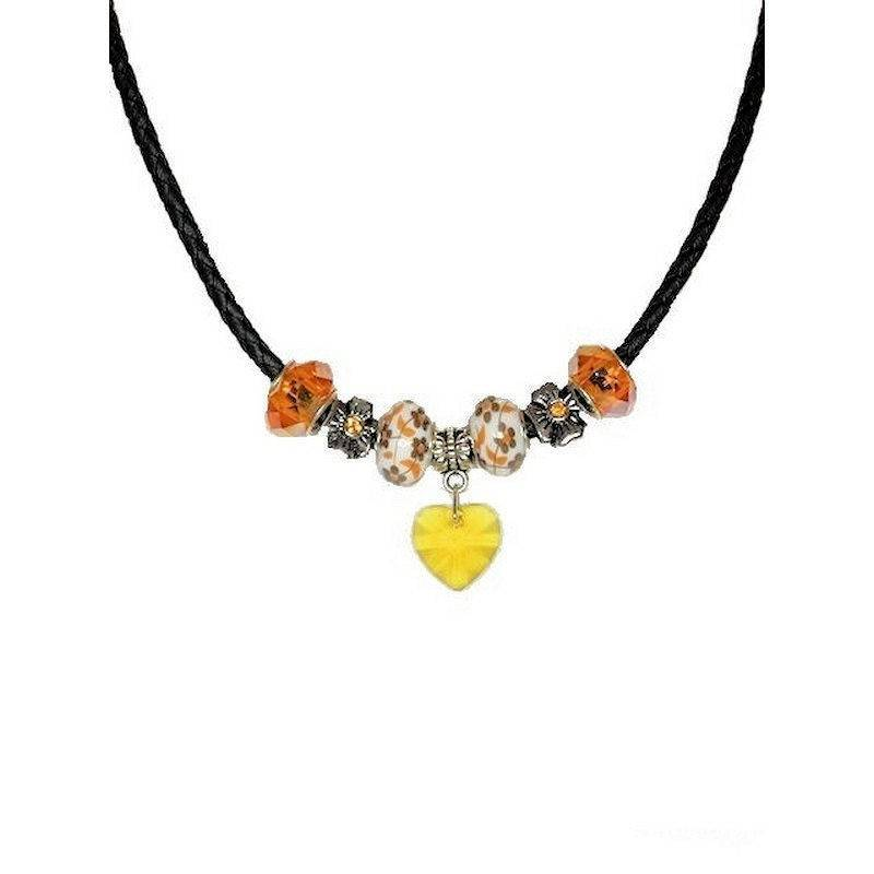 Necklace Enchanted Autumn Beaded with Crystal Heart Charm