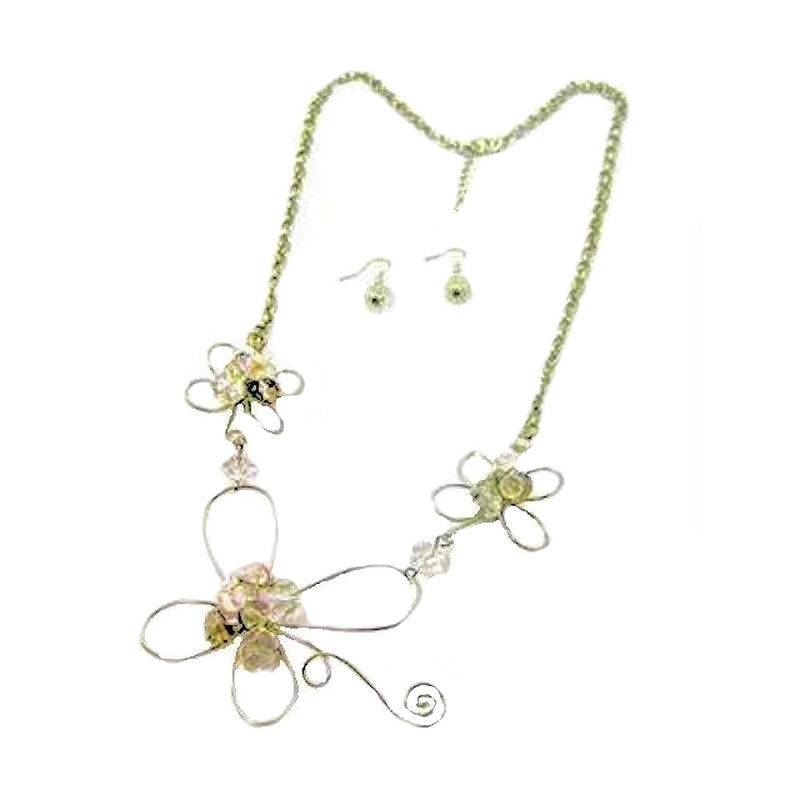 Jewelry Set Enchanted Beaded Crystal Flower