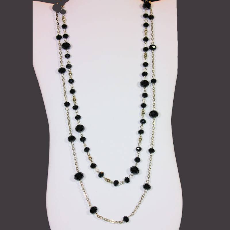 Necklace Beaded Extra Long with Black Glittering Crystals