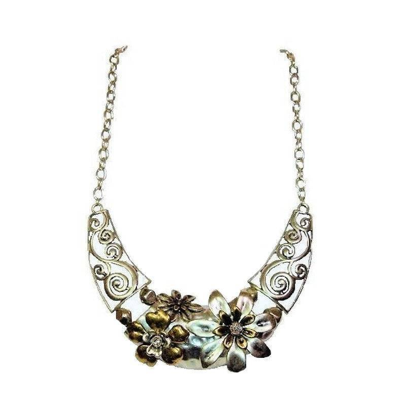 Necklace Designer Filigree Flower Garland in Mixed Metal Colors