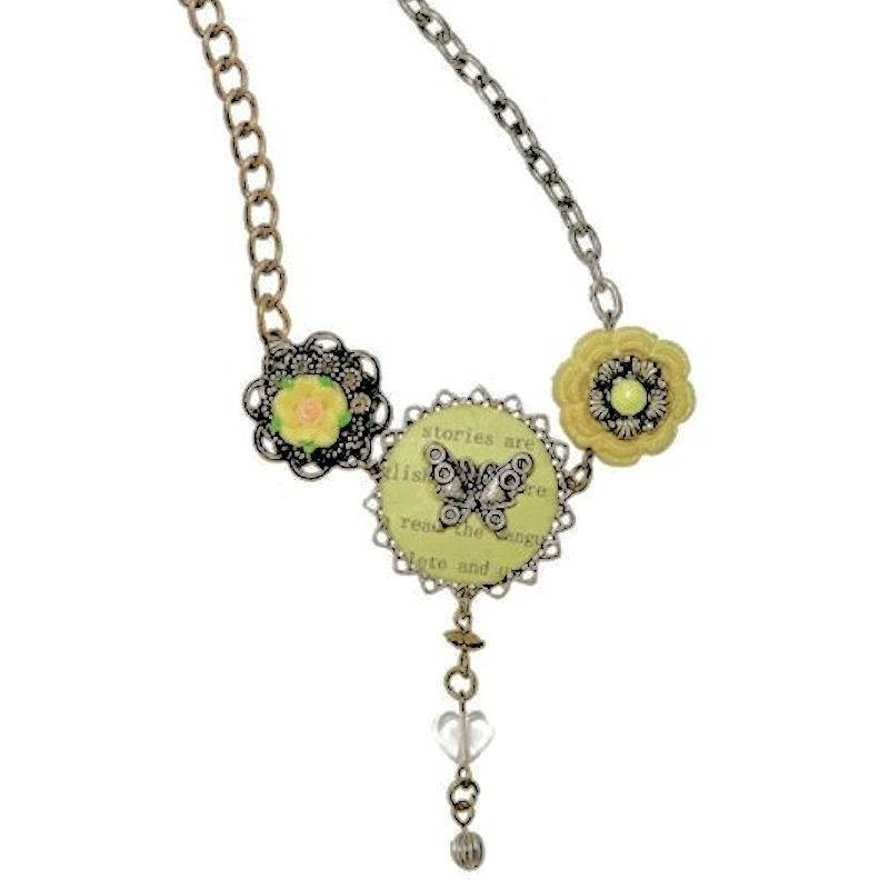 Necklace Garden Party Butterflies and Flowers Pendant Charms