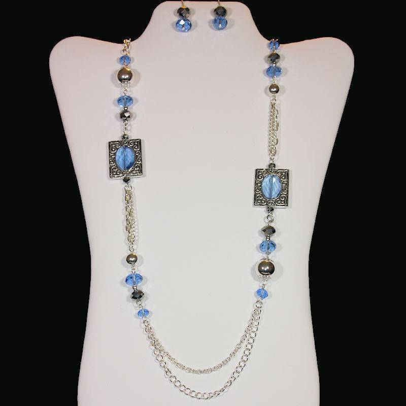 Jewelry Set Beaded Necklace Blue Crystal with Matching Earrings