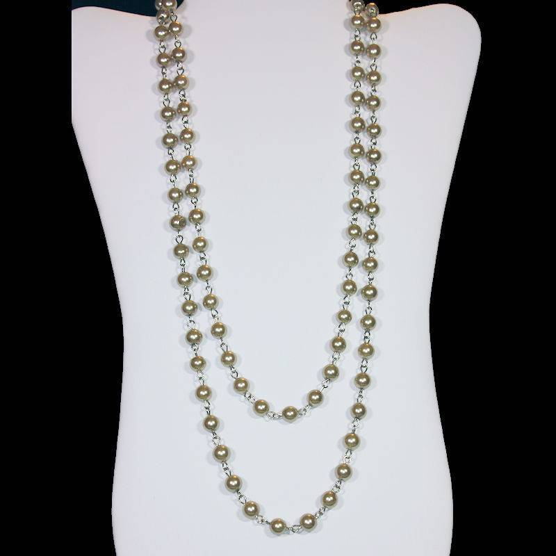 Necklace Extra Long Champagne Colored Glass Beads