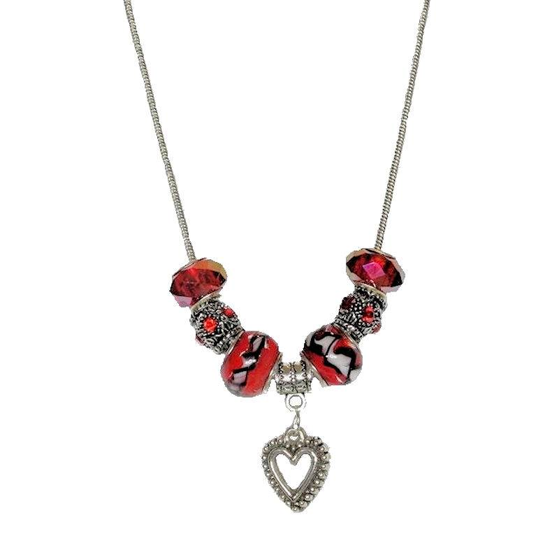 Necklace Love is in the Air Beaded with Tibetan Silver Heart
