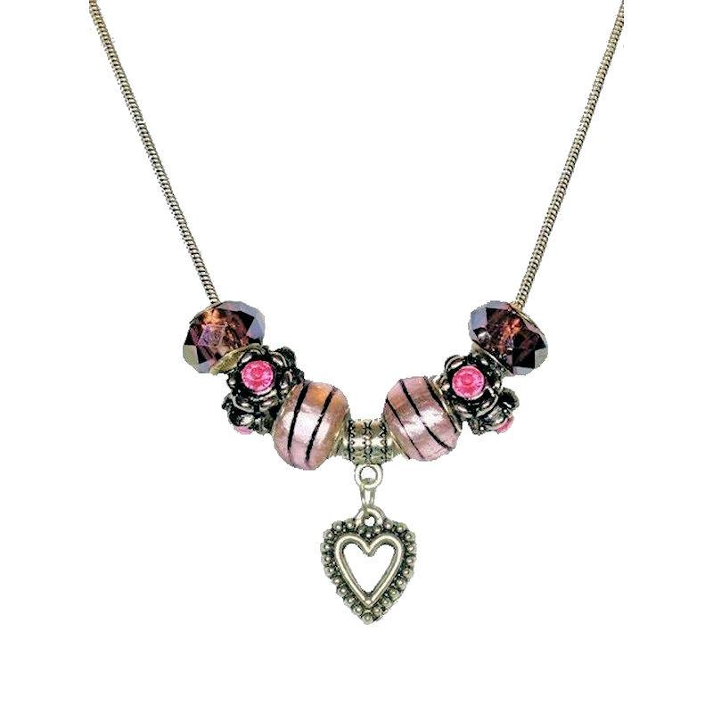 Necklace Love is Magical Beaded with Tibetan Silver Heart Charm