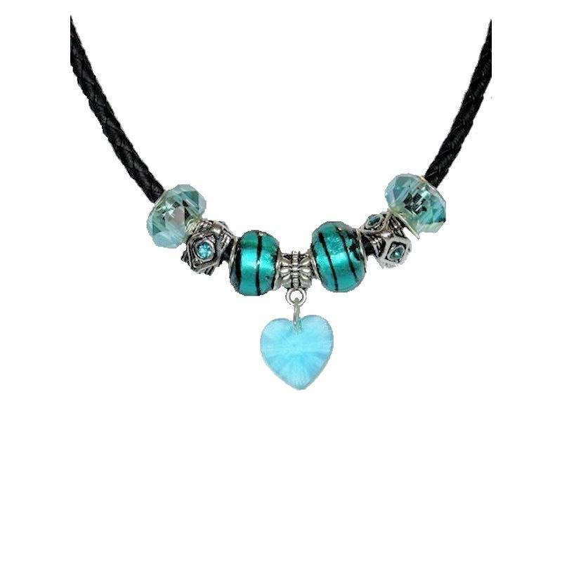 Necklace Lovely in Teal Beaded with Crystal Heart Charm