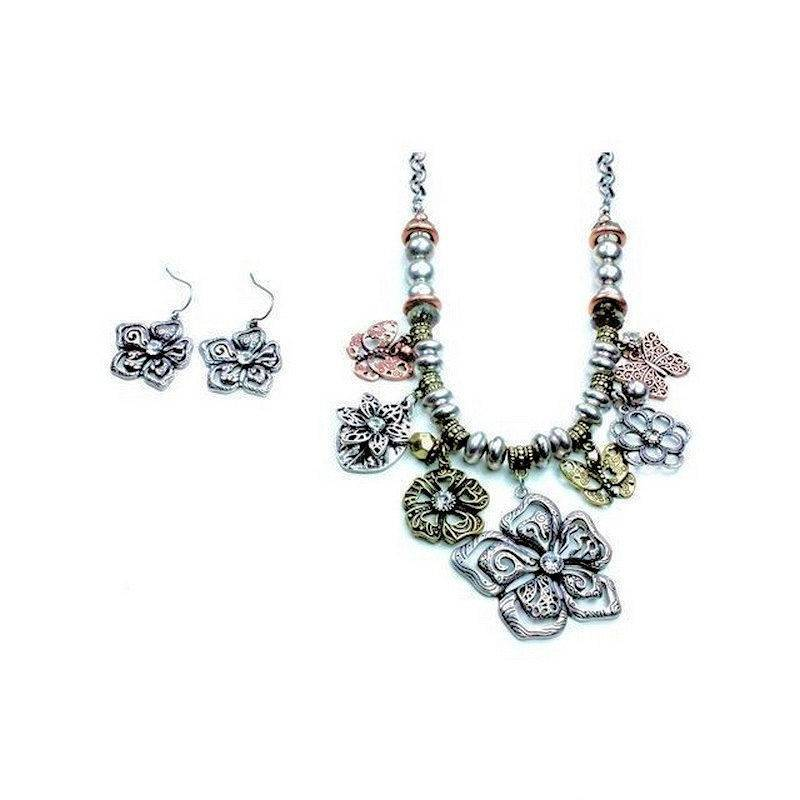 Jewelry Set Vintage Flowers Necklace and Earrings
