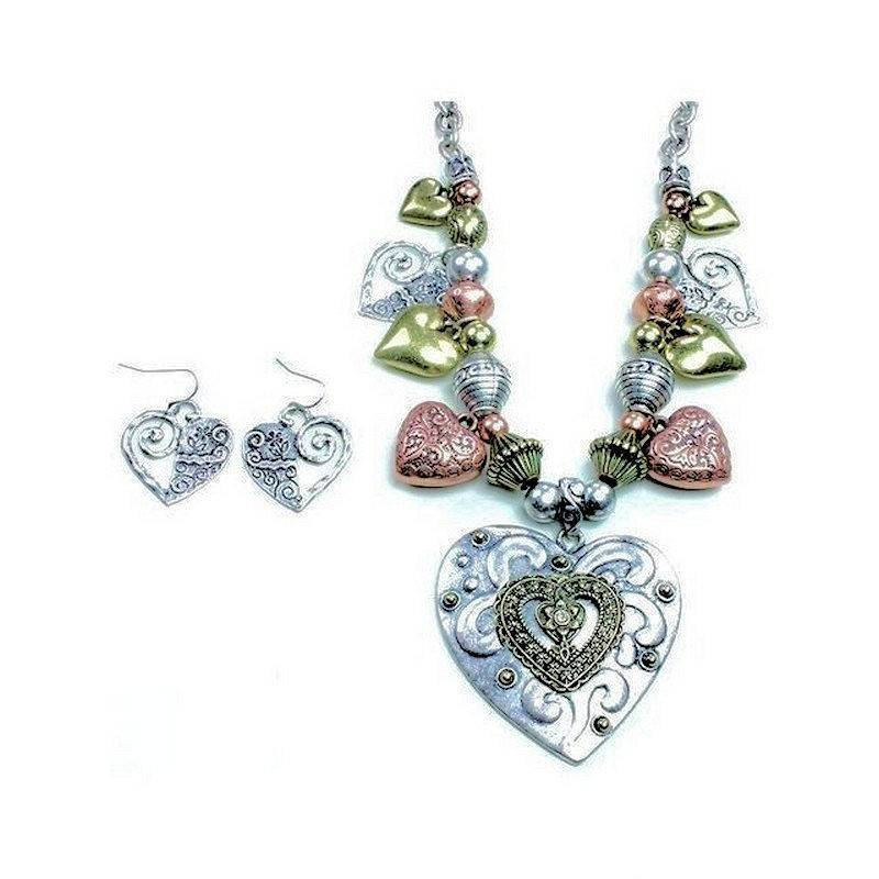 Jewelry Set Vintage Hearts Mixed Metals Necklace and Earrings