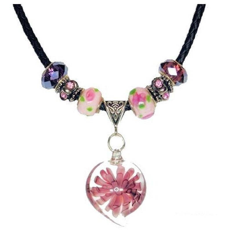 Necklace Glass Charm with Purple Passion Flower