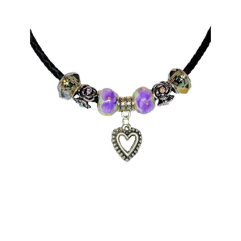 Necklace Purple Passion Love Affair Beaded with Heart Charm