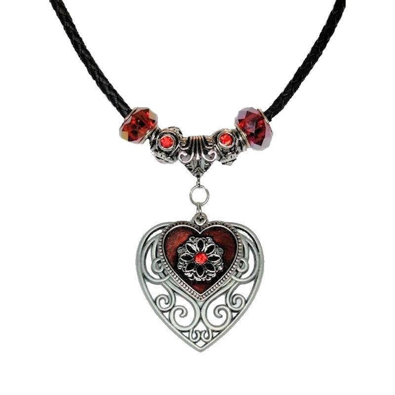 Necklace Mystical Heart with Glittering Filigree Metal Charms