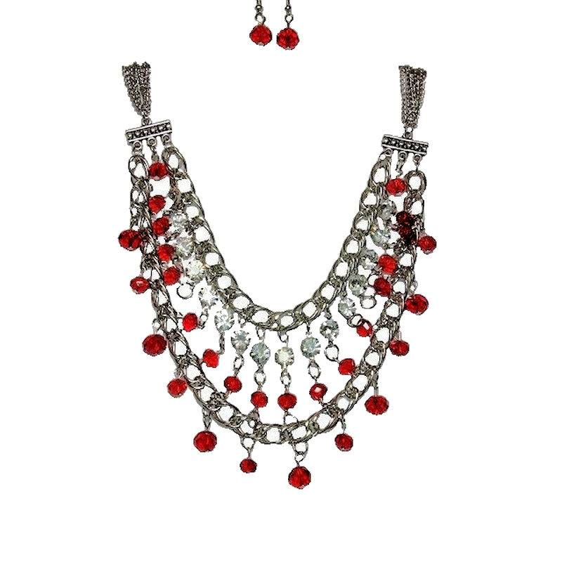 Jewelry Set Red Romance Chandelier Necklace and Earrings
