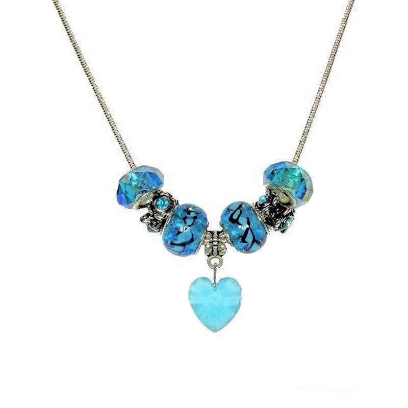 Necklace Beaded Blue Ice Sparkle with Crystal Heart Charm