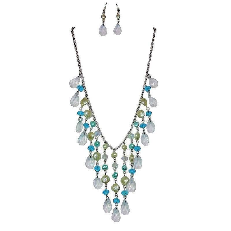 Jewelry Set Pearl Beads and Crystals Chandelier Teal