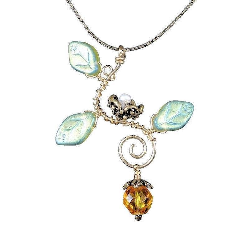 Necklace Handmade Artisan Jewelry Topaz Drop Nest