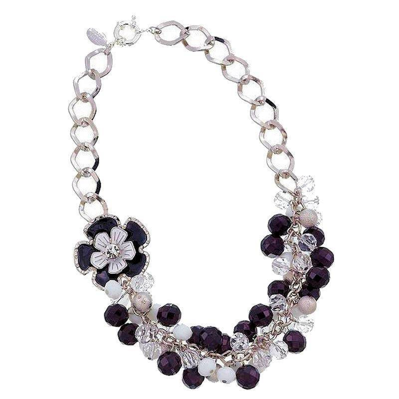Necklace Tuxedo Flowers Black and White Floral