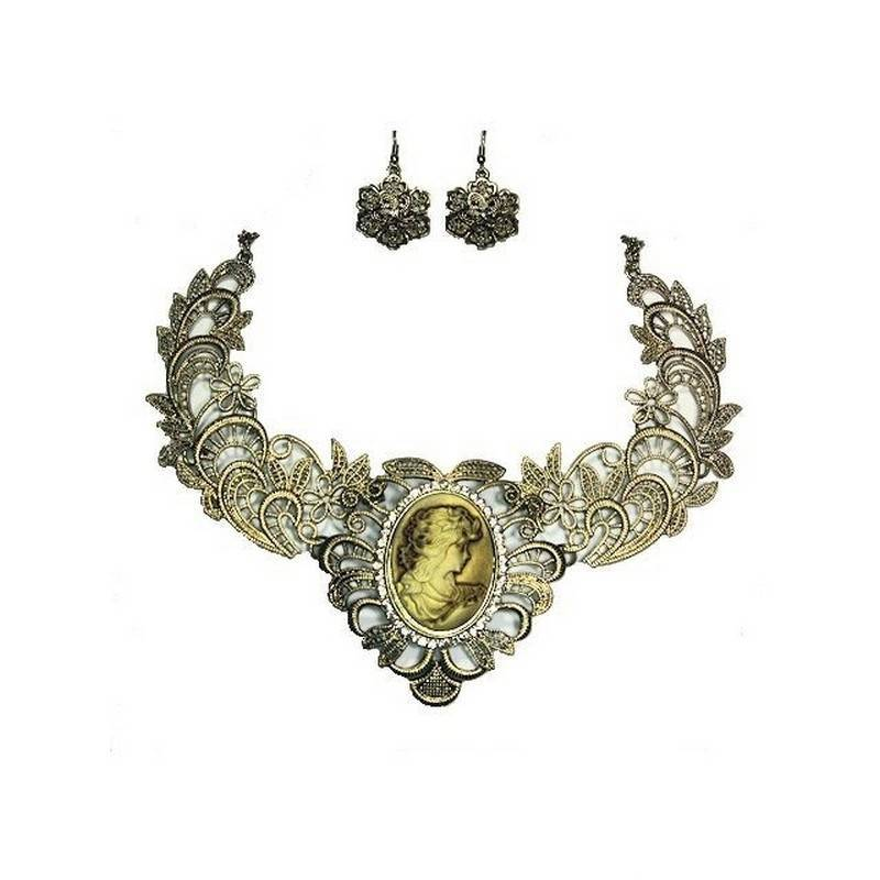 Jewelry Set Vintage Victorian Lace Elegant Necklace and Earrings