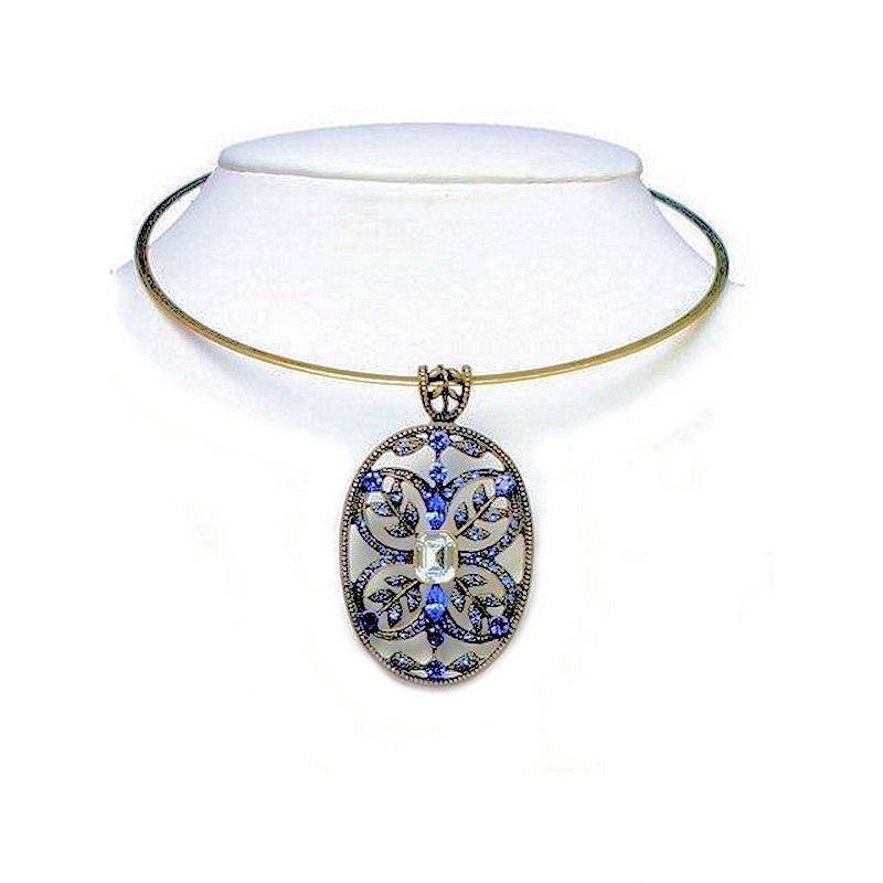 Choker Necklace Vintage Jeweled Blue Crystal Charm