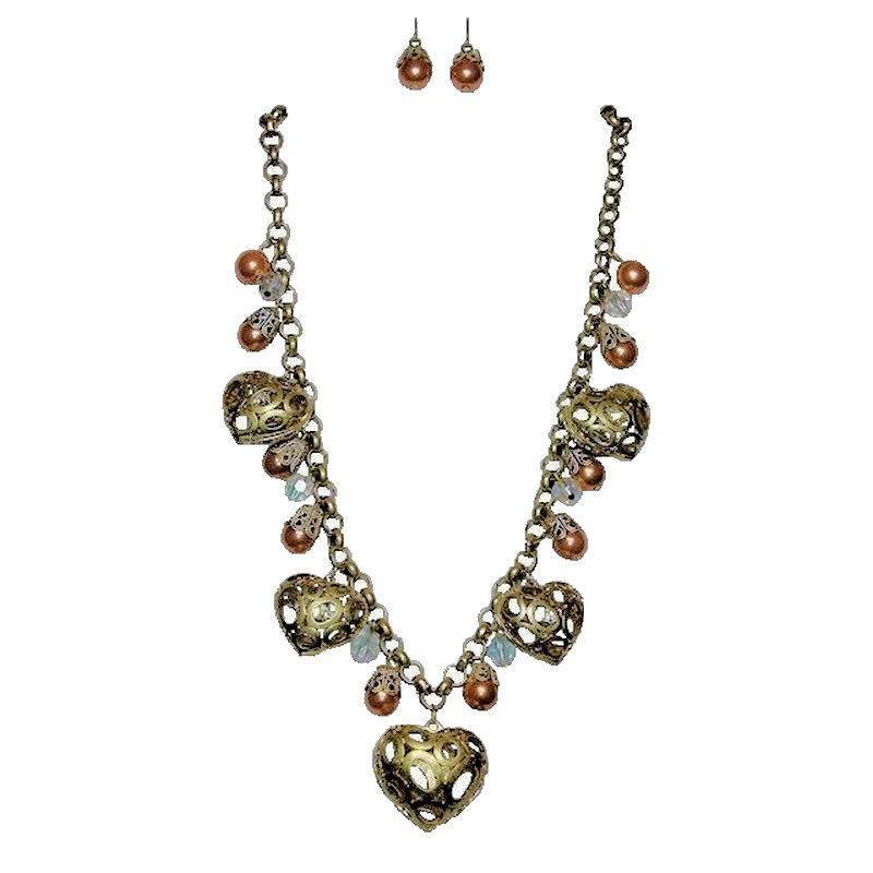 Jewelry Set Vintage Champagne Hearts Necklace and Earrings