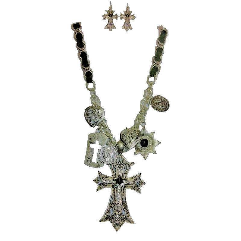 Jewelry Set Vintage Charmed Crosses Necklace and Earrings