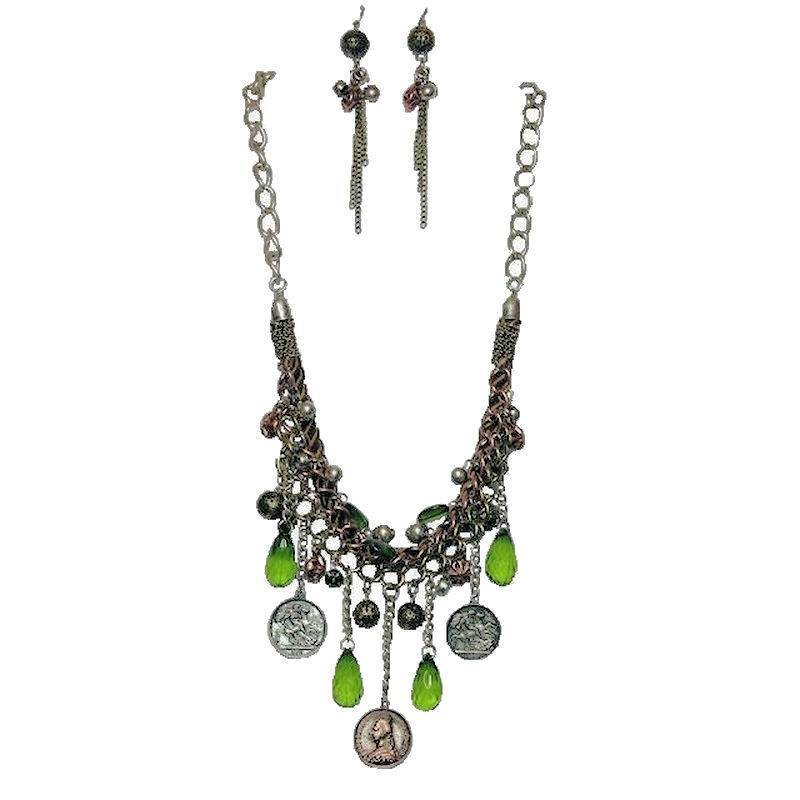 Jewelry Set Vintage Jewels of Green Necklace and Earrings