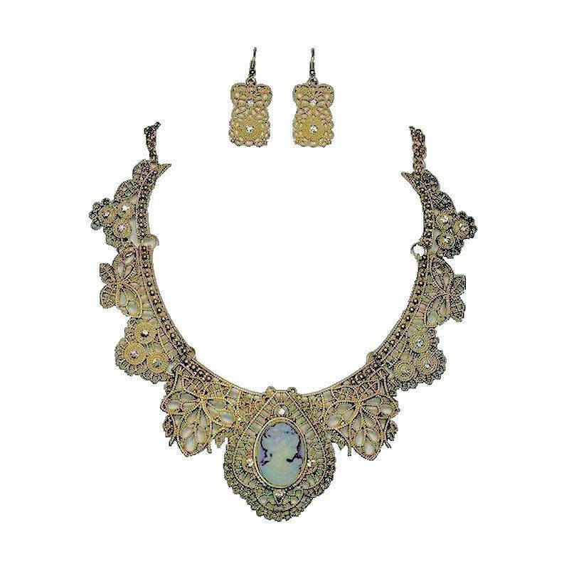 Jewelry Set Vintage Lace Metal Cameo Necklace and Earrings