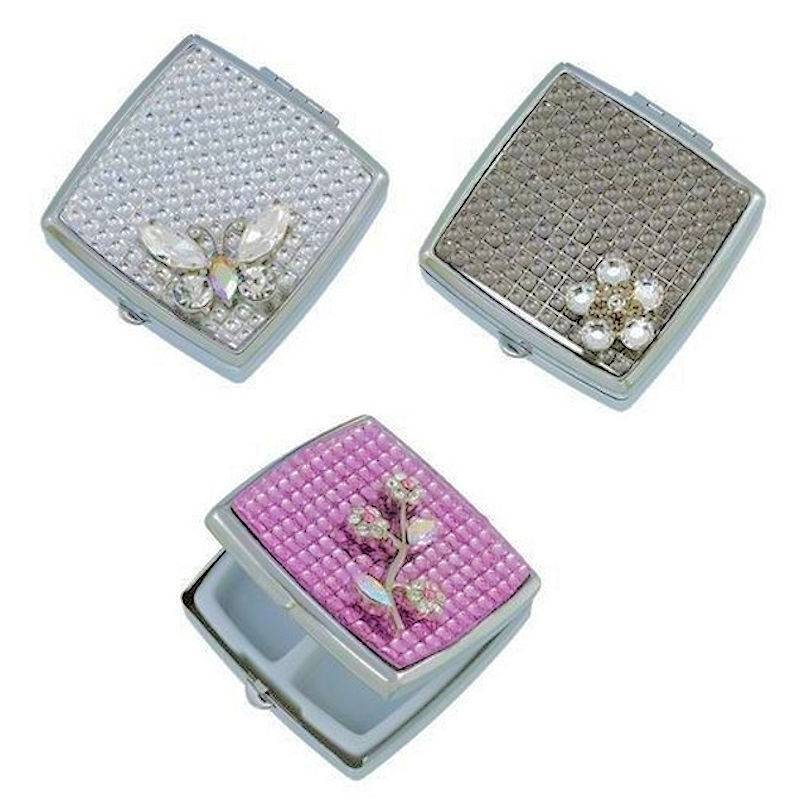 Pillbox for Your Purse Jeweled Glistening Splendor in 3 Designs