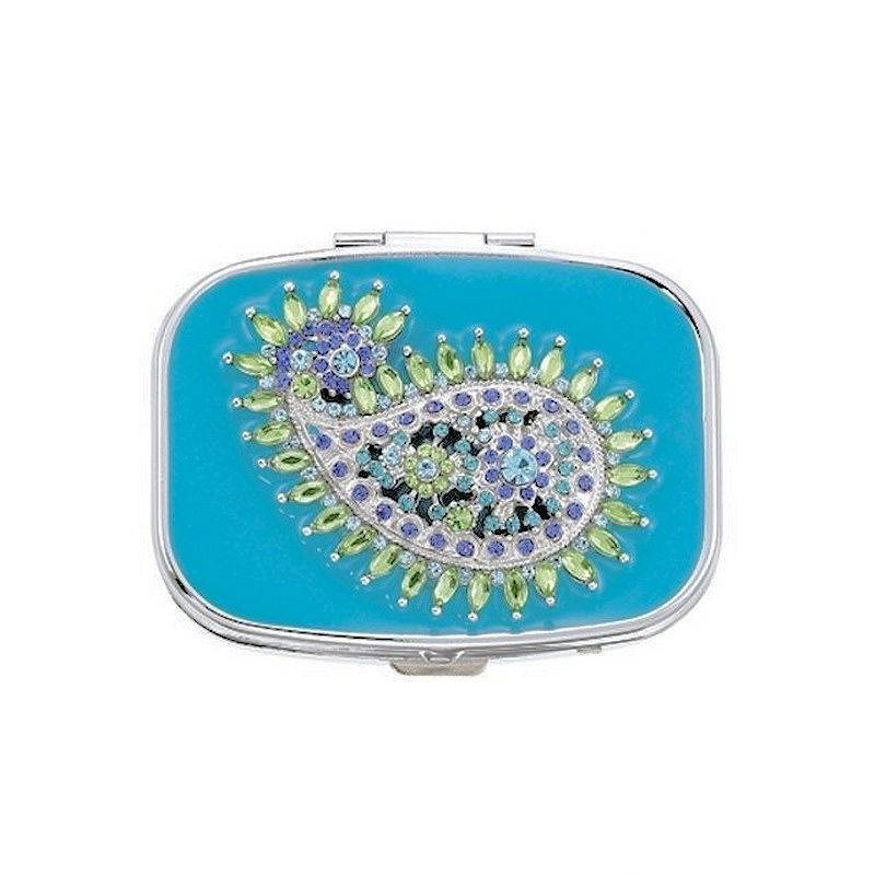 Pillbox for Your Purse Paisley Teal Teardrop