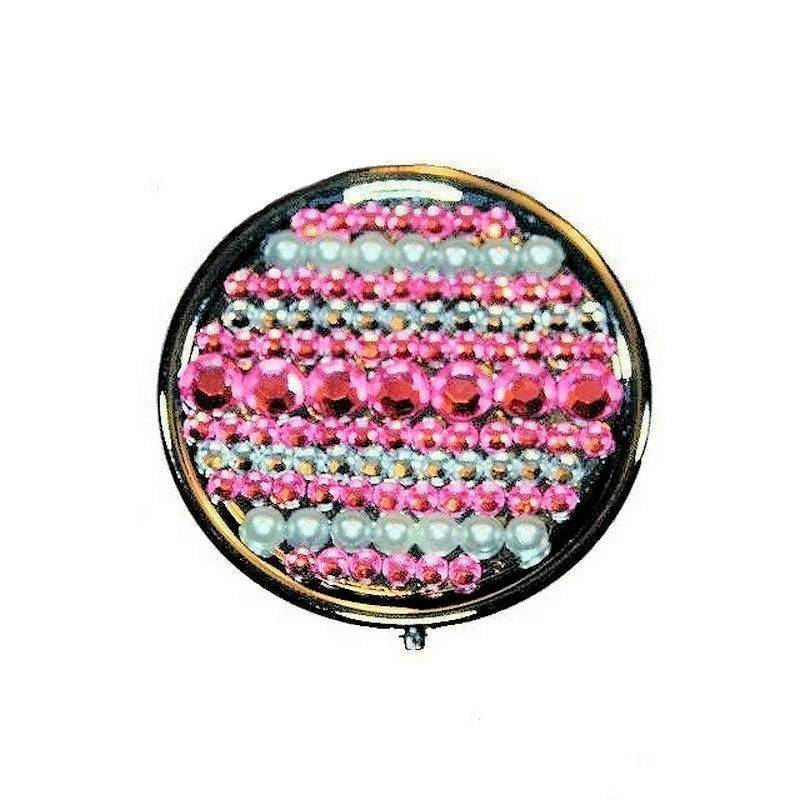 Pillbox for Your Purse Pink Gems and Pearl Beads