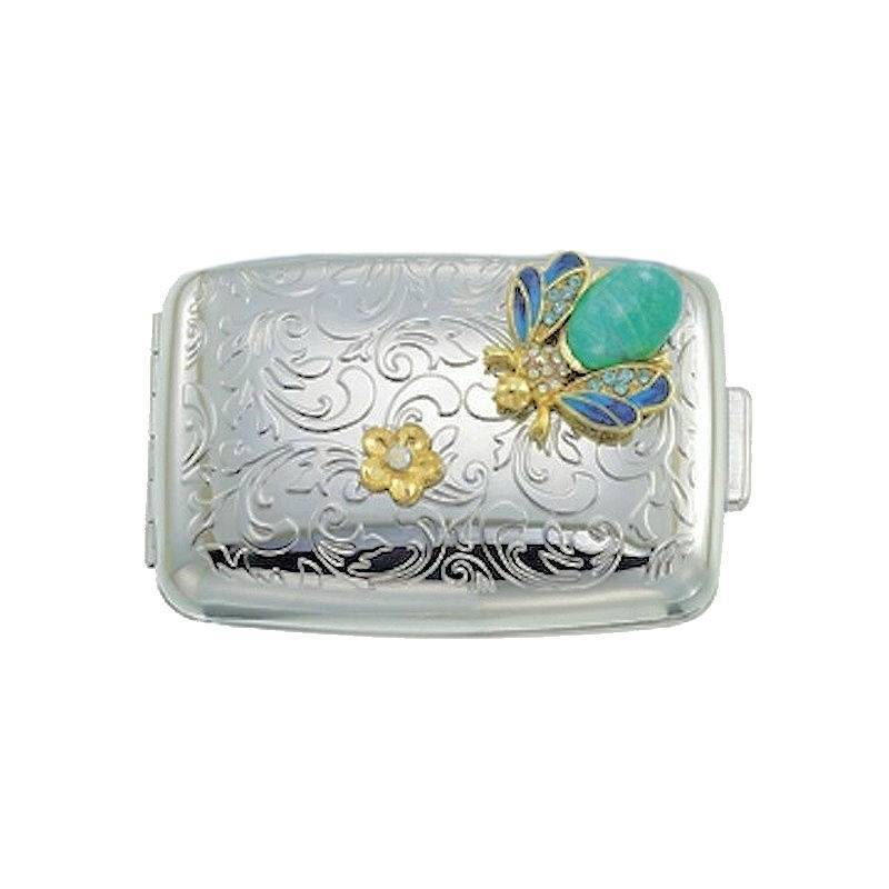 Pillbox for Your Purse with Silver Filigree Design