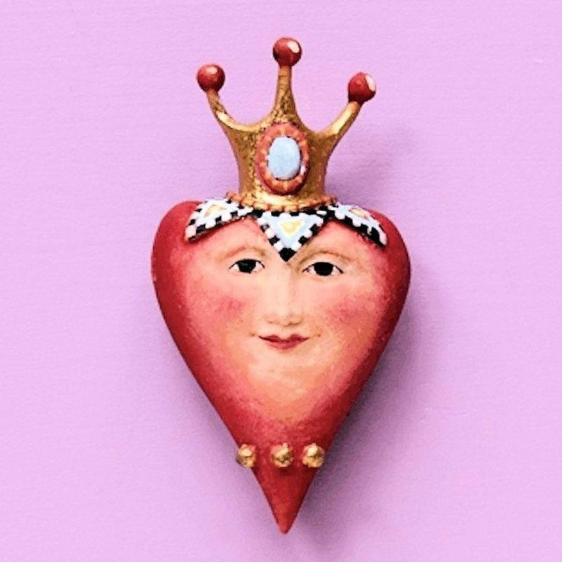 Queen of Hearts Lapel Pin by Patience Brewster