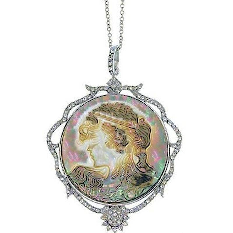 Necklace Vintage Cameo Pendant with Mother of Pearl