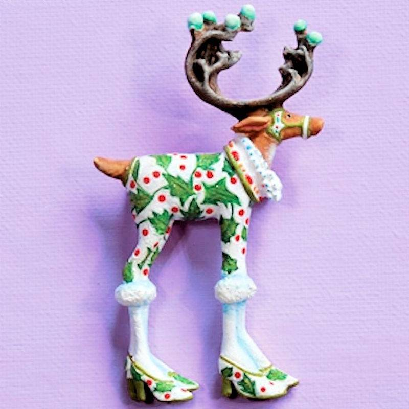 Dash Away Vixen Reindeer Lapel Pin by Patience Brewster
