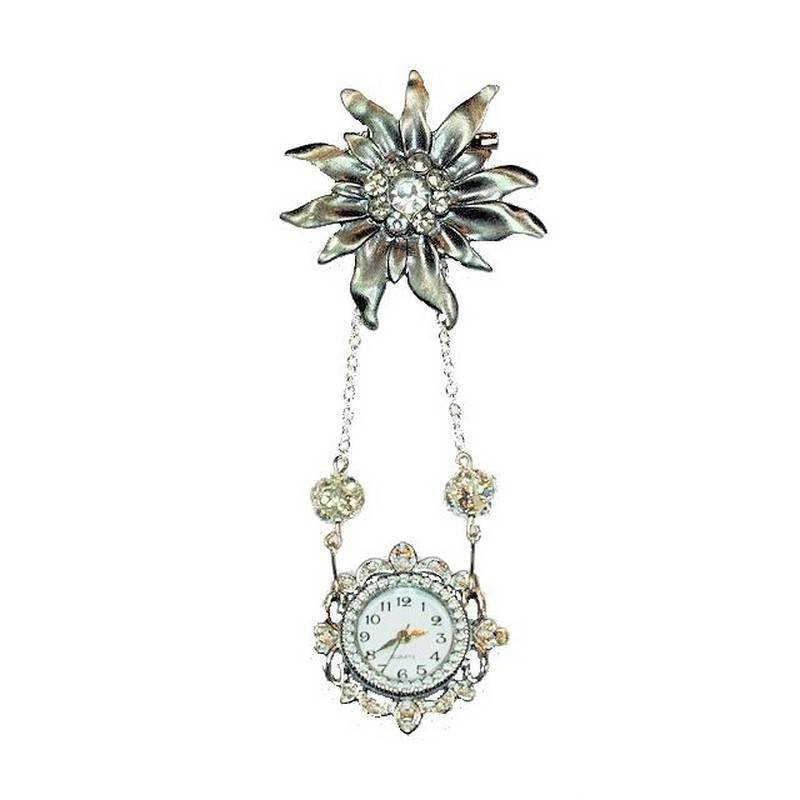 Brooch Vintage Style Jewelry Crystal Starburst Watch Lapel Pin