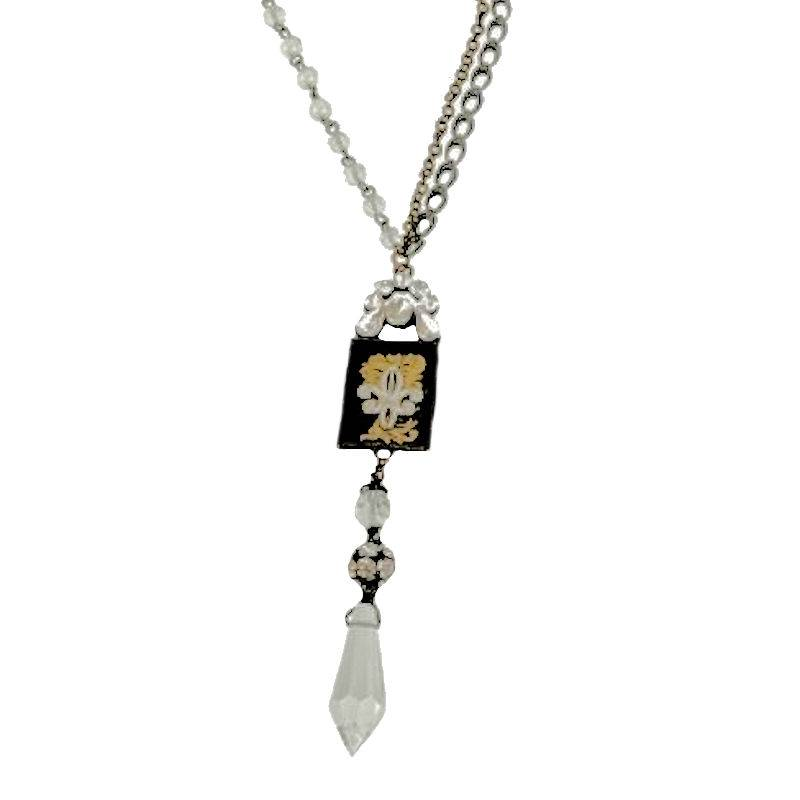 Necklace French Floral Design Pendant with Crystal