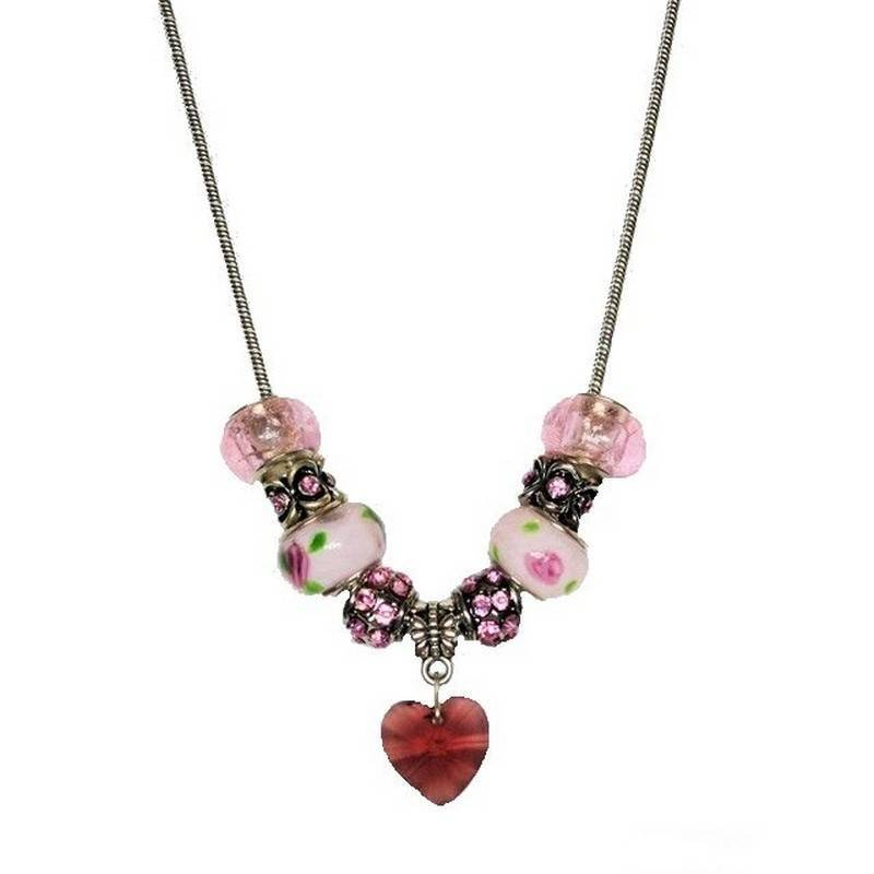Necklace Beaded Passion Fairy with Sparkling Crystal Charm